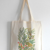 Green Cacti and Succulent Jungle Cotton Canvas - Garden Plant Art Watercolor Illustration Print Tote Bag - Pastel Green Cactus Bag