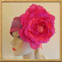 2014 Resort Head Wrap Collection Pink Purple Ombre Italian Sinamay Linen Head Wrap Magenta Silk Rose Hand Beaded with Swarovski Crystal