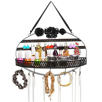 Black Flower Metal Hanging Jewelry Organizer Rack w/ Earring Holder, Ring Tray, & Necklace Hanger Hooks