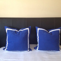 30% OFF Trim Pillows, Bedroom Pillows, Blue throw Pillows, Border Throw Pillows, 24x24 Sham Trim Cushions, Shams with Borders