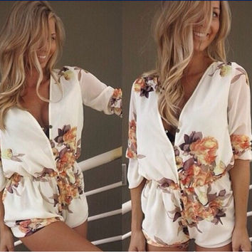 Hot Sale Stylish V-neck Print Romper [6315456705]