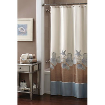 Croscill Shells Ashore Polyester Shower Curtain