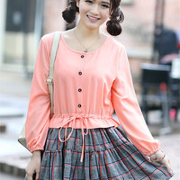 Kawaii Lolita Preppy Look Buttons Chiffon Top Splicing Grid Dress - Pink, Red or Apricot - M L XL from Tobi's Finds