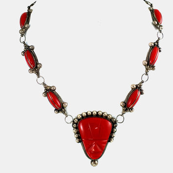 Mexican Necklace RED Mask Sterling Silver