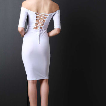 Lace Up Open Back Off Shoulder Midi Dress