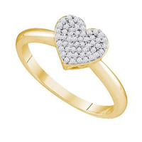 10KT Yellow Gold 0.15CTW DIAMOND HEART RING