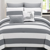 Duck River Delia Stripe Printed Comforter Set - Grey -