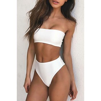 Solid Bandeau Bikini Swimsuit 2018 Sexy Bathing Swimsuit Strapless Bikini Set Women Solid Beach Suit maillot de bain