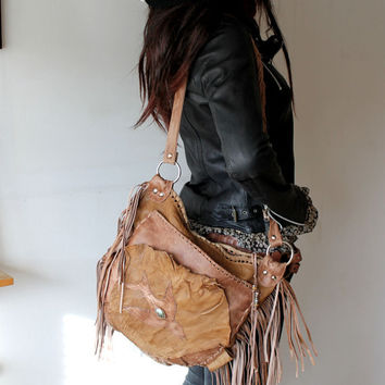 Milky brown leather bohemian purse fringed bag with bird unique by sweet smoke bags raw front pocket rocker hippie free spirit people