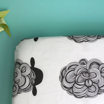 fitted crib sheet in black sheep