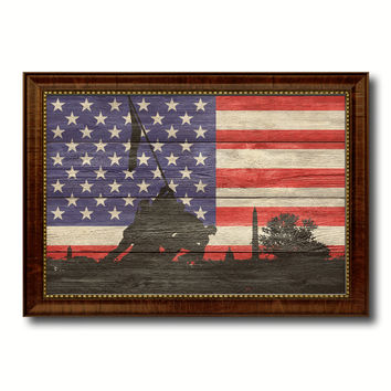 Iwo Jima World War 2 Veterans Flag Texture Canvas Print with Brown Picture Frame Gifts Home Decor Wall Art Collectible Decoration Artwork