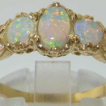 Womens Solid 18K Yellow Gold Natural Fiery Opal English Victorian Style Trilogy Ring - Made in England - Supplied in Your Finger Size