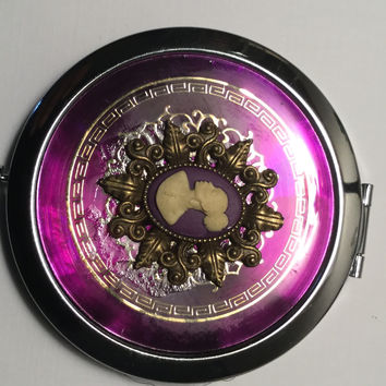 Purple vintage cameo mirror compact /free shipping