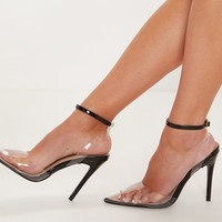 Black Clear Ankle Strap Court Shoe