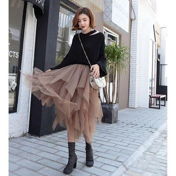 Fashion Elastic High Waist Long Tulle Skirt Women Irregular Hem Mesh Tutu Skirt 2017 Spring Party Skirt Ladies Faldas Detul