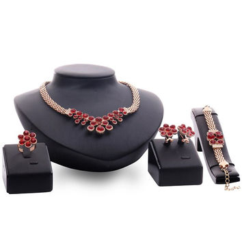 Rose Gold Faux Ruby Flower Necklace Bracelet Ring and Earrings