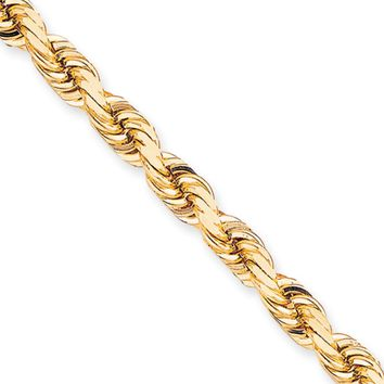 Men's 10mm 10k Yellow Gold Diamond Cut Solid Rope Chain Bracelet, 8in