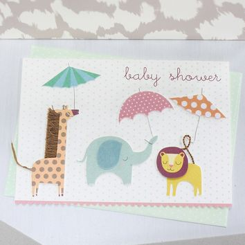 Animals with Umbrellas Card