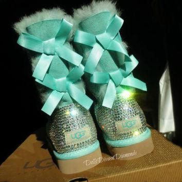 ICIK8X2 Blinged Out Surf Spray Bailey Bow Uggs w/ Swarovski Crystals- Turquoise Uggs with Cry