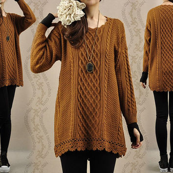 Sweater dress knitwear cotton sweater tops large knitted sweater coat casual loose sweater blouse plus size sweater cotton blouse - Camel