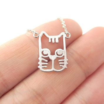 Kitty Cat Face Shaped Cut Out Pendant Necklace in Silver | Animal Jewelry