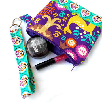 Enchanted Forest Wristlet Clutch - Purple Teal Zipper Pouch