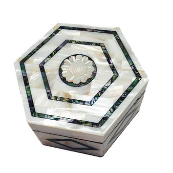 Professional Handmade Chicago Full Mother Pearl Jewelry Box Hexagonal Shape