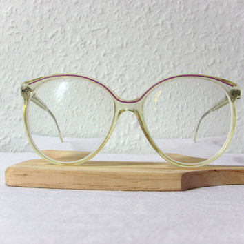 Oversized Round Eye Glasses Amber D. Von Hunnius Germany Frame Vintage Extravagant FREE SHIPPING Women's Prescription Glasses Purple Amber