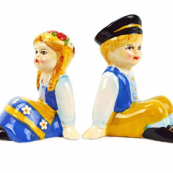 Vintage Salt and Pepper Shakers Swedish Sitting Couple