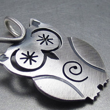 StarryEyed SpiralBelly Owl Silver Pendant By Beth by BethMillner