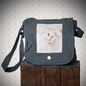 canvas messenger bag, handbag, romantic photography, shoulder bag, Messenger bag, Fun photo bag