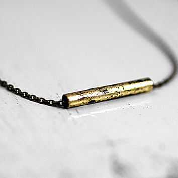 Dainty necklace with partly blackened golden tube. Minimalist simpe jewelry for her. Gift under 15.