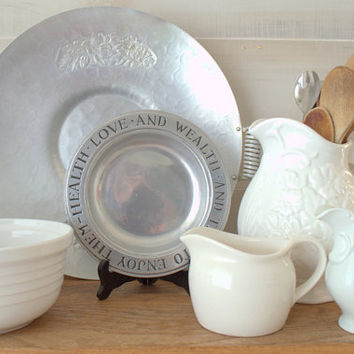 Wilton RWP Pewter Plates, Health Wealth and Love Bread Plate, Rustic Pewter Tray