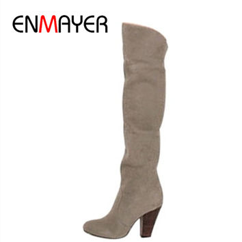 ENMAYER Long Boots Women Knee Sexy Vintage Chunky High Heels Autumn Shoes Round Toe Platform Motorcycle Shoes Women Big Size