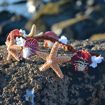 Colorful Starfish and Seashell Flower Crown-Mermaid headband starfish headband starfish crown seashell headband bridal hair Ariel headband