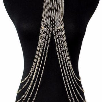 Women's Gold Collar Body Chain Necklace