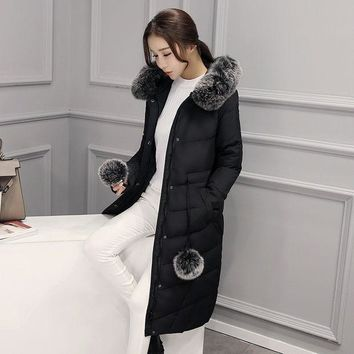 High Quality 2016 Winter Thick Large Real Fox Fur Collar Women Down Jacket White Duck Feather Women Long Down Doat  Ladies Parka