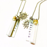 Friendship Necklaces, Best Friends Necklace, Pixie Dust, Glass Bottle Jewelry, Glass Vial, Snow Jewelry, Glitter Necklace, Necklace Set