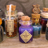 Miniature Glass Bottle filled with Harry Potter inspired Purple Potion number 7 by LittleWooStudio