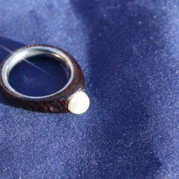 Engagement ring, anniversary gift,  wood ring with Akoya pearl and Titanium ring.