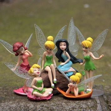 6pcs/Set Christmas Kids Gift Tinkerbell Dolls Flying Flower Fairy Children Animation Cartoon Toys Girls  Baby Toy WJ436