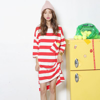 Red and White Striped Midi Dress