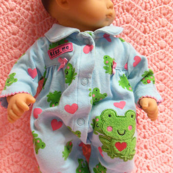 "American Girl BITTY BABY clothes ""Kiss Me"" (15 inch) doll outfit with sleeper and headband"