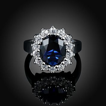 Sapphire Blossoming Pav'e Ring in 18K White Gold 925 Sterling Silver Unique Casual Rings