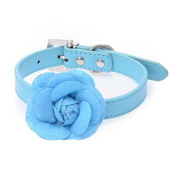 Rose Collar Dogs Pet Cat Supplies Adjustable Fashion Kitten Collar With Same Color Rose