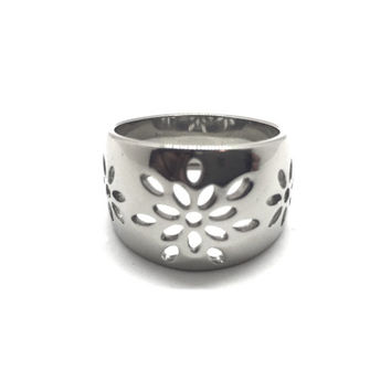 Women's  Stainless Steel Band with Floral Blast Design