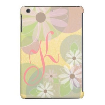 White & Pink Daisies & Pastel Circles Monogram iPad Mini Cover from Zazzle.com
