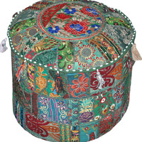 Indian Bohemian Pouf Ottoman floor pillow decorative Cushion Ethnic Indian Decor bohemian stool chair pouffe pouffes Indian PILLOW bean bag