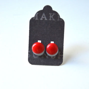 Stud Earrings - Red and Grey Stud Earrings - Gray Studs - Tiny Stud Earrings - Post Earrings - Colorful Earrings - Handmade Enamel Studs
