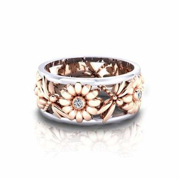 Daisy White Sapphire 925 Silver Ring Fashion Women Wedding Jewelry Sz 6-10